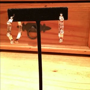 "Henri Bendel 1"" Rose Gold Plate Hoops w/ Crystals"